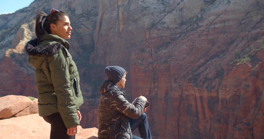 Photographers on Canyon Edge, Hikers in Zion National Park | Shutterstock HD Video #1032481634