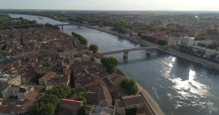 Arles and Rhône, aerial approach, Bouches-du-Rhône, France | Shutterstock HD Video #1032524324
