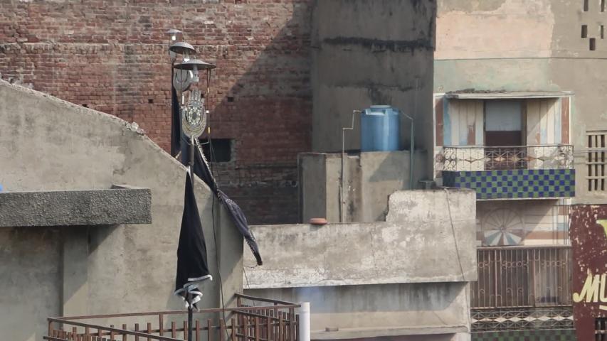 Symbolic Shia Muslim Flag on Roof Top | Shutterstock HD Video #1032544754