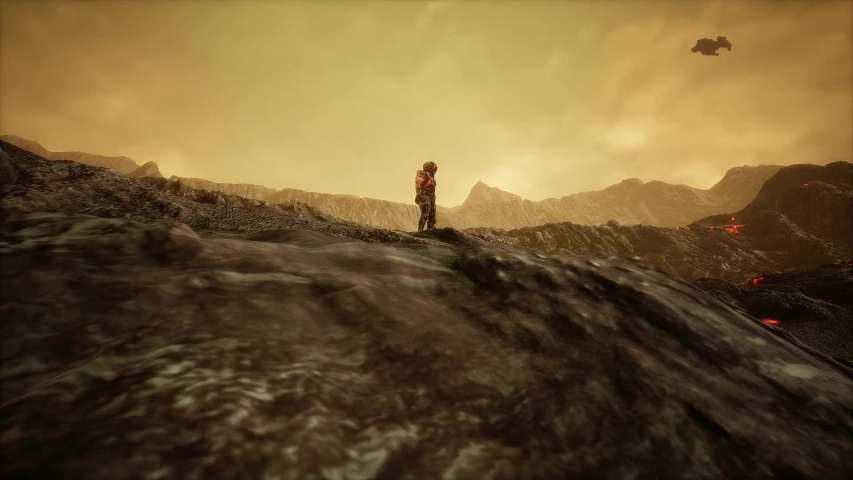 Aliens and Astronauts on a strange planet in space move camera   Shutterstock HD Video #1032761654