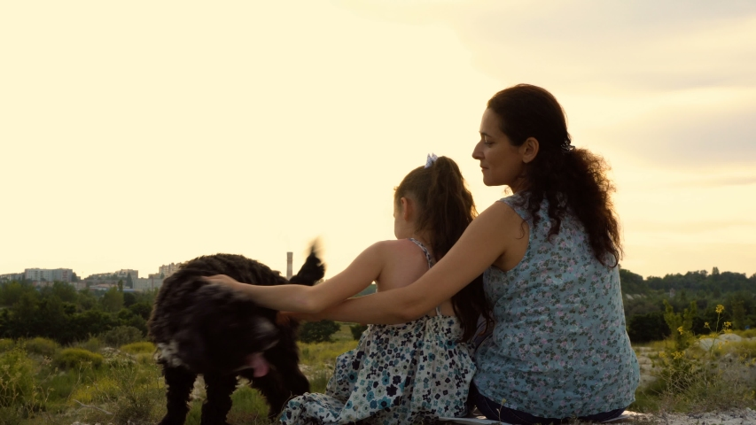 Mom and her little daughter with a dog sitting on top of a mountain at sunset on a summer day. They have fun playing and petting the dog. Rear view. Close up. The concept of happiness. 4K   Shutterstock HD Video #1032789704