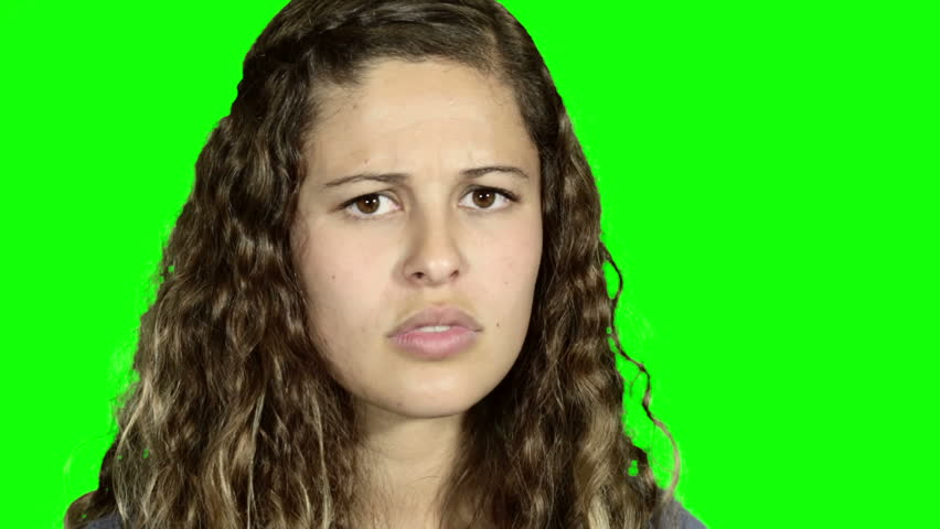 Young woman turns to camera, screams and looks terrified. Green screen. | Shutterstock HD Video #10328024