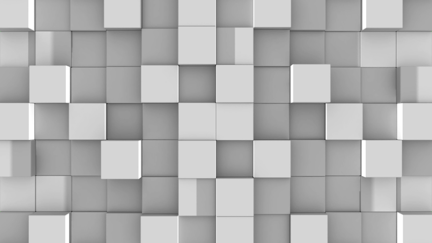 Gray cubes from opposite directions are shifted filling the green screen and assembled into the wall. Abstract transition, 3D animated intro with chroma key. | Shutterstock HD Video #1032889754