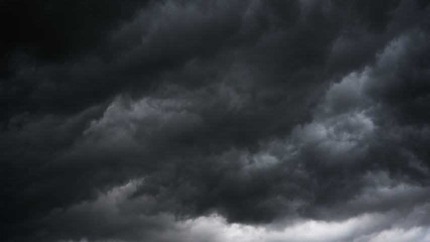 Dark ominous grey storm clouds. Dramatic sky. lighting in dark stormy clouds | Shutterstock HD Video #1032922904