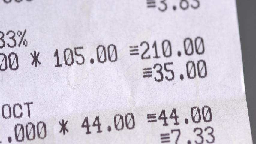 Supermarket receipt from the cash register macro. Grocery shopping | Shutterstock HD Video #1032937484