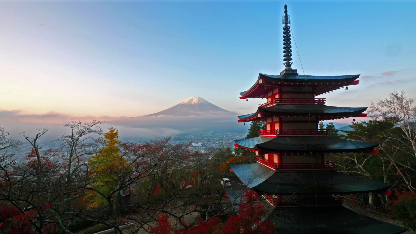 Stunning time lapse of Mount Fuji in the background of a pagoda in Tokyo, Japan. | Shutterstock HD Video #1032940244