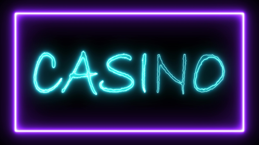 Sign contains: Welcome Casino Las Vegas. Sign in neon style. Popular abstract rectangle with neon spectrum lines. Animation fluorescent ultraviolet light glowing neon lines. Seamless loop. 4K | Shutterstock HD Video #1032969794