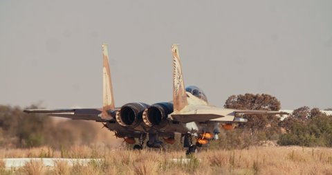 Hezerim, Israel. June 14th 2019. Israeli Air Force F15 fighters taxiing on the runway before takeoff