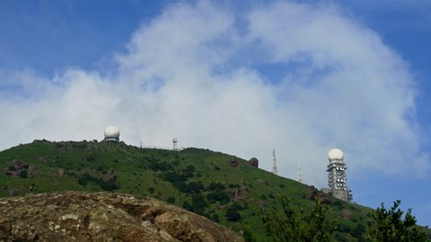 Clouds floating over hong kong highest peak tai mo shan weather radar  station during day