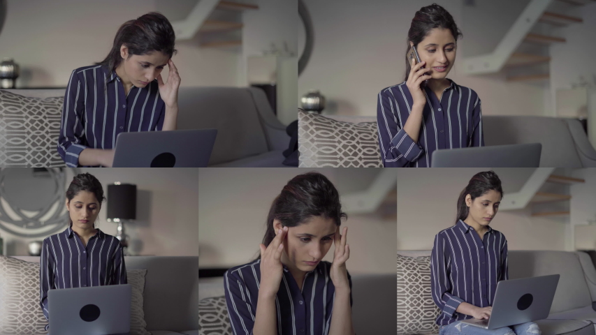 Collage of pretty young woman being inside, talking on phone, working on laptop, thinking hard, massaging temples. Work, freelance concept | Shutterstock HD Video #1033224164