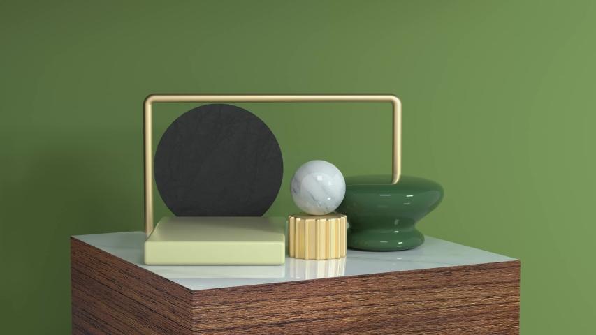 Green scene geometric object wood podium set 3d rendering motion abstarct   Shutterstock HD Video #1033252754