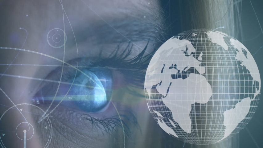 Digital composite of a blue eye opening while a digital globe rotates and shapes move in the screen   Shutterstock HD Video #1033270784
