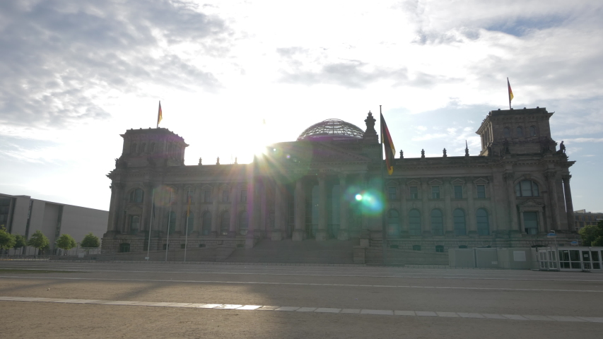 Grandiose architecture of the government building in Berlin. The Bundestag against the background of the cloudy sky. | Shutterstock HD Video #1033427714