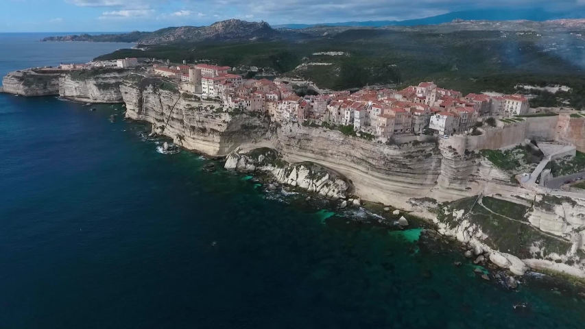 Aerial view of the steep cliffs and the city of Bonifacio on the island of Corsica in France.