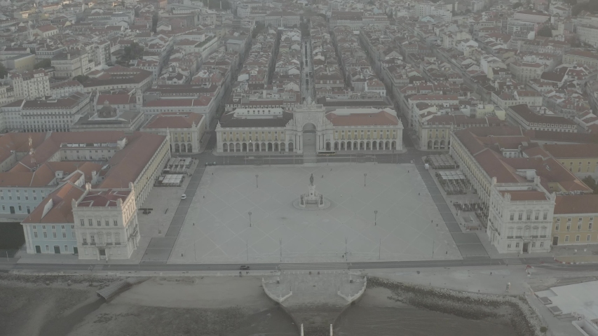 Commerce square in Lisbon, Portugal, 4k aerial drone ungraded / raw flat | Shutterstock HD Video #1033545584