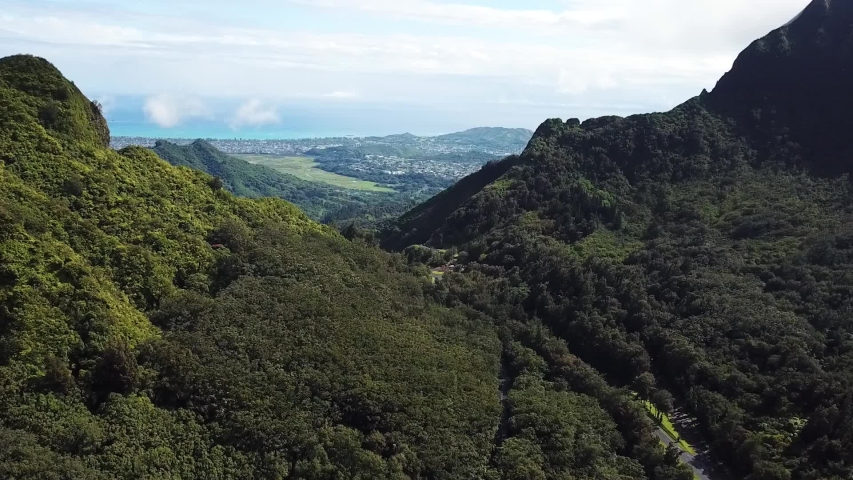 Magical Landscape of Oahu Island Hawaii Cinematic Aerial. Tropical Rainforest Volcanic Cliffs and Green Valley #1033551344