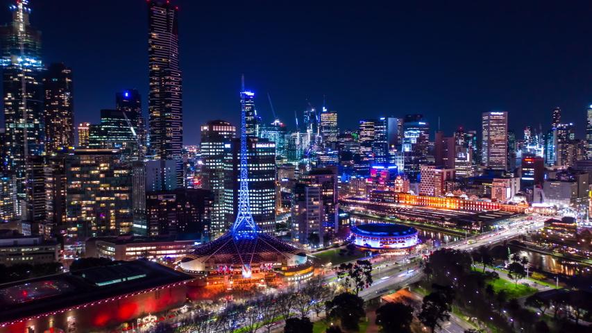 Aerial Hyperlapse of Night CBD at Flinders St in Melbourne, Australia | Shutterstock HD Video #1033636004