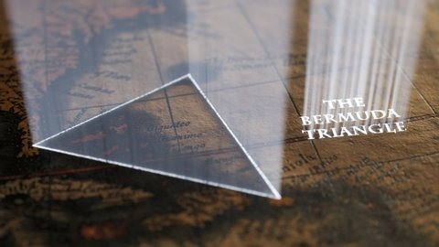 Famous Bermuda triangle marked with light shafts on an old, vintage map. A magical sign slowly appears hinting the approximate spot of mysterious disappearing and ship disasters over the years.