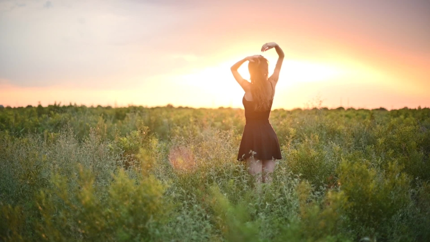 Cheerful young woman in white dress walking through beautiful lavender filed at golden sunset in summer | Shutterstock HD Video #1033900454