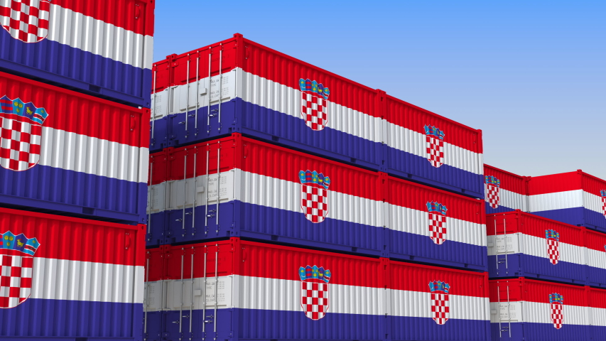 Container yard full of containers with flag of Croatia. Croatian export or import related loopable 3D animation | Shutterstock HD Video #1033939454