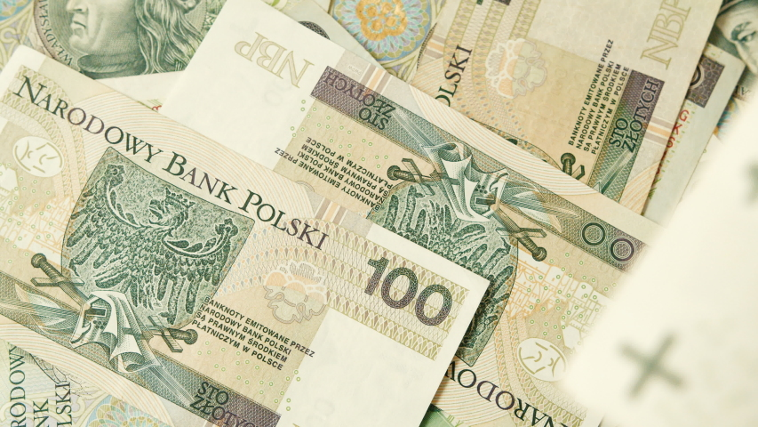 Finance economy currency Narodowy Bank Polski notes, close up shot | Shutterstock HD Video #1033955324