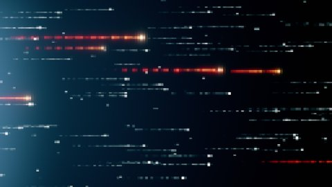 Abstract technology background with animation of fast flying flickering code particles as data transfer. Seamless loop 3d render. Modern blue color spectrum