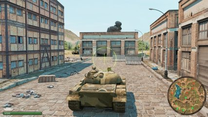 Tank Battles Video Game Imitation. Tanks War 3d Game With Interface. The Tank Goes To Ruined Place And Fights With The Enemy. Online game