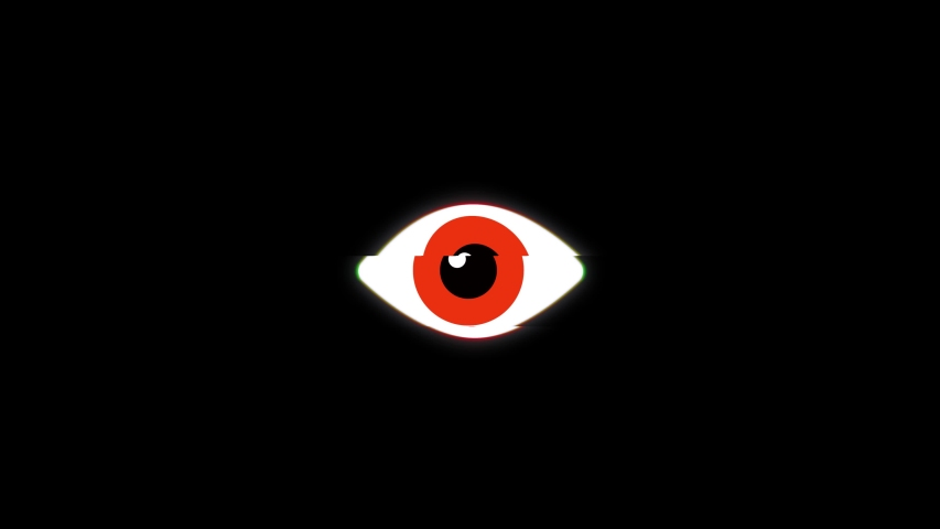 Red pixel eye symbol on glitch lcd led screen display background animation seamless loop. New quality universal close up vintage dynamic animated colorful joyful cool video footage | Shutterstock HD Video #1034151044