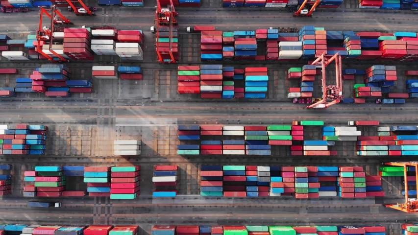 Aerial view, harbor by crane, international water transport. | Shutterstock HD Video #1034172884