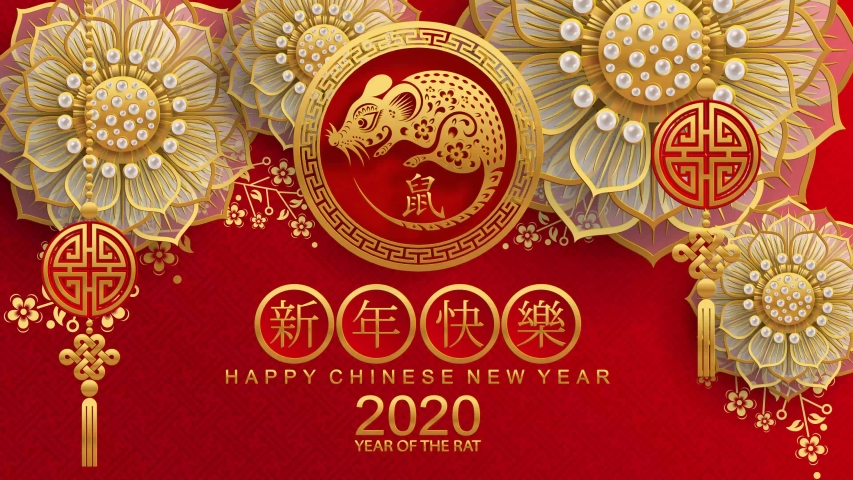 Happy chinese new year 2020 year of the rat ,paper cut rat character,flower and asian elements with craft style on background.  (Chinese translation : Happy chinese new year 2020, year of rat) | Shutterstock HD Video #1034177564