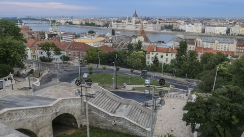 Scenic timelapse from Buda Castle showing the Danube river, ships, The Parliament and the Pest side of the Danube river.