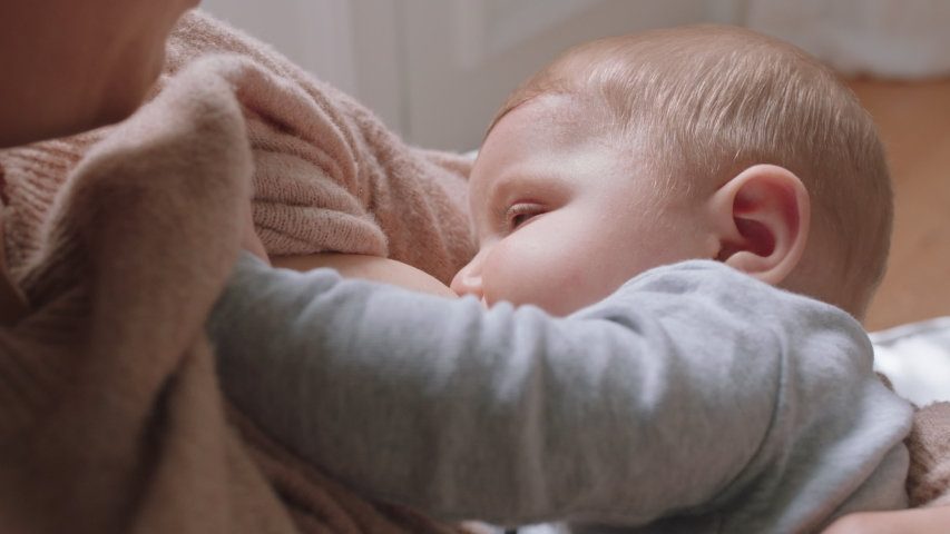Asian Mother Breastfeeding Her Baby Stock Footage Video