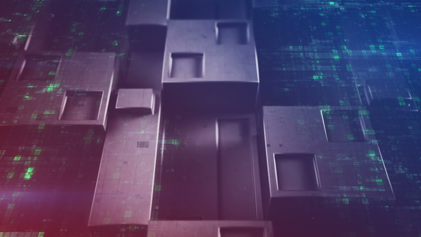 Sci-fi wall panel and digital code. Futuristic technology concept. Seamless loop 3D render animation 4k UHD 3840x2160 | Shutterstock HD Video #1034573024