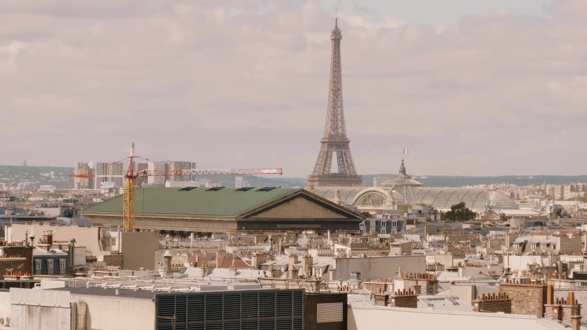Rooftop view over the city of Paris with Eiffel Tower | Shutterstock HD Video #1034647274