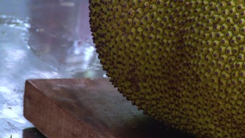 Close-up skin of breadfruit (jackfruit), which lies on the table. Dripping a drop of juice from a cut place