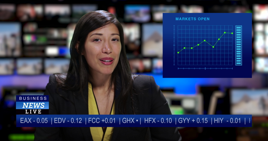 MS Female anchor speaking at news desk | Shutterstock HD Video #1034745644