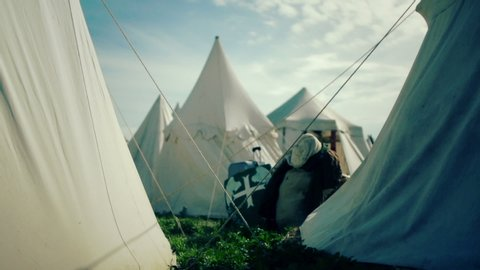 Medieval camp of tents. Sunny day.
