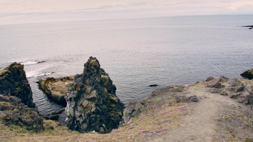 Arnarstapi -  village, clifs, landscapes of Iceland. | Shutterstock HD Video #1034896694
