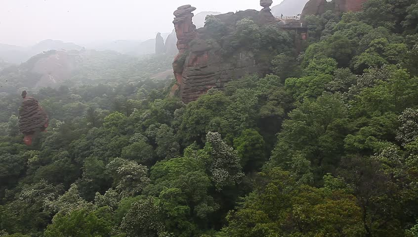 Guifeng of  Shangrao city, a landmark known as Danxia Rock | Shutterstock HD Video #10349714