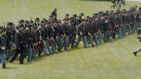 Columbus , oh / united states - 06 22 2019: civil war reenactment at ohio  history center