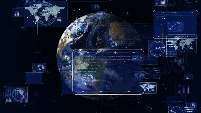 Global communication network concept. Worldwide business. GUI (Graphical User Interface). AI Artificial intelligence). Elements of this image furnished by NASA. 3D rendering. | Shutterstock HD Video #1035186854