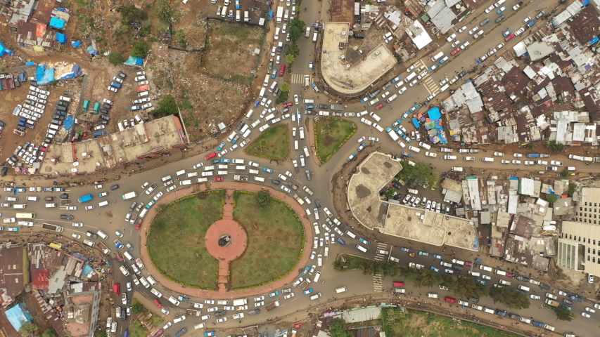 Abstract drone flight over busy junction in Addis Ababa, capital city of Ethiopia, transportation and infrastructure Africa   | Shutterstock HD Video #1035194864