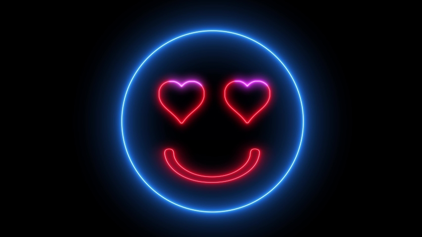 Neon heart eye smiley face. Glowing led light, smiling lover emoji. | Shutterstock HD Video #1035216194