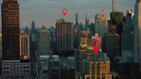 Aerial of New York City technology smart city skyline. Localization icons in a connected futuristic city. internet of things, data communication, artificial intelligence.