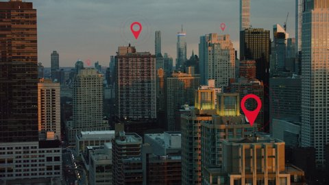 Aerial of New York City technology smart city skyline. Localization icons in a connected futuristic town. internet of things, data communication, artificial intelligence.
