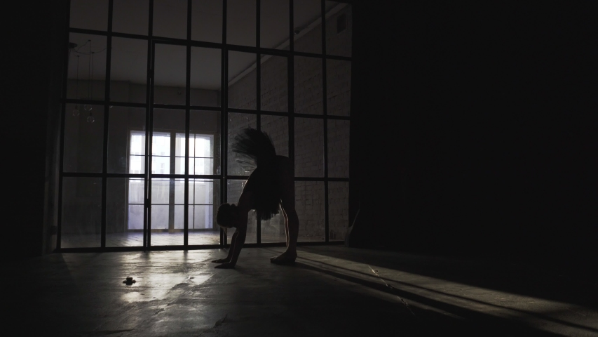 Silhouette of ballerina dancing in the hall | Shutterstock HD Video #1035233084