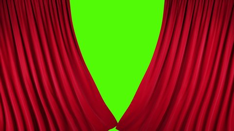 Red velvet theater curtains in motion. Opening and closing curtains with green chroma key.