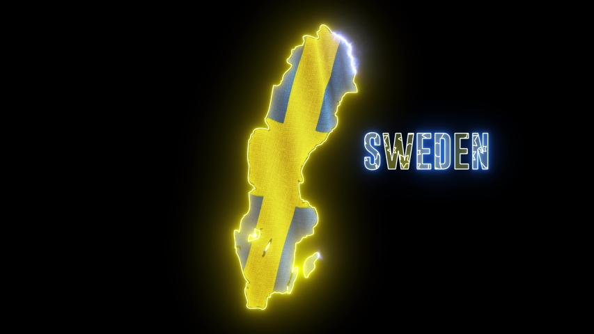 Abstract creative neon lights Sweden map. Outline of Swedish country with glowing led lamp.  | Shutterstock HD Video #1035298904