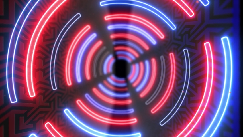 Abstract creative neon, led tunnel with round, circular shapes. Futuristic red and blue floor, hall, stage with rotating perspective. | Shutterstock HD Video #1035300314