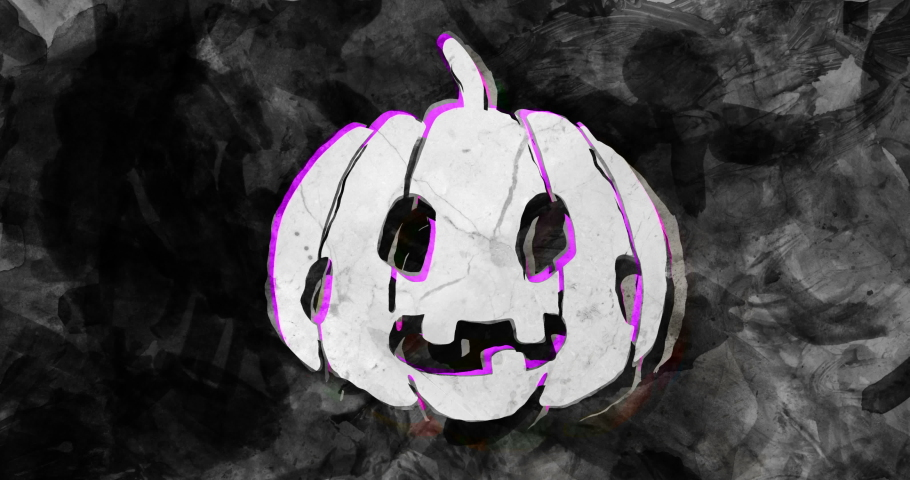 32 halloween icons, animated with a grungy stop motion feeling with pink highlights. ghosts, skulls, grave, spider, witch, monsters, moon, and more icons with dark background. Inky analog material. | Shutterstock HD Video #1035301034